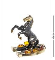 Am-416 фигурка лошадь на подкове (латунь, янтарь)
