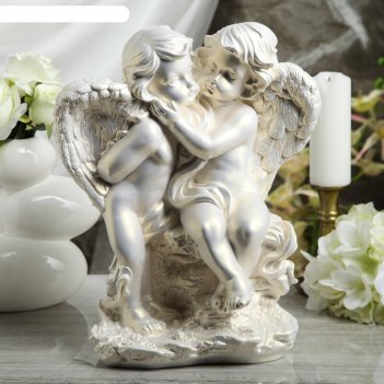 Статуэтка ангелы пара на камне большая, перламутровая
