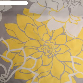 Штора для ванной 180x180 см большие цветы, полиэстер, цвет жёлтый