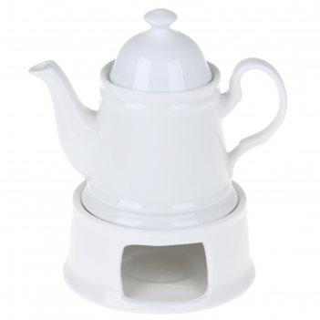 Чайник заварочный 500 мл с подогревом на керамической подставке эстет