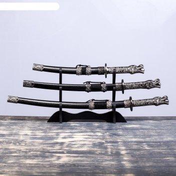 Катаны сувенирные 3в1 на подставке, кожа, черные ножны, рукоять- голова др