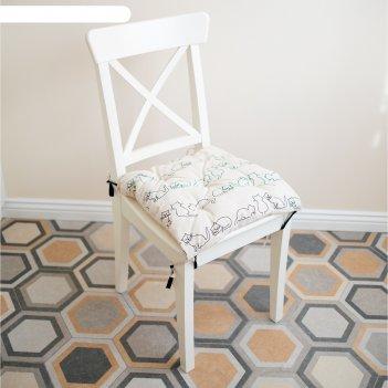 Подушка на стул, размер 45 x 45 см, принт кошка