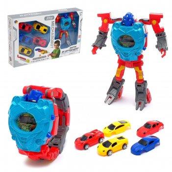 Робот супер гонки, трансформируется, 5 машинок, часы с запуском