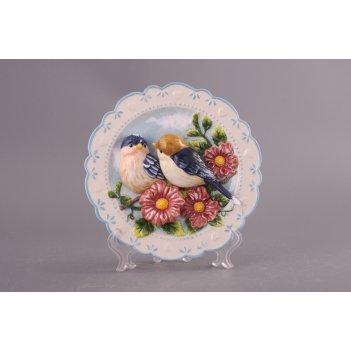 Тарелка декоративная птицы на яблоневой ветке бо...
