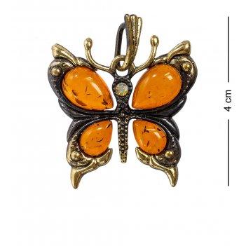 Am-1166 подвеска бабочка со стразами (латунь, янтарь)
