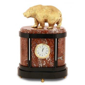 Часы медведь, камень креноид, статуэтка бронзовое литье арт.3068