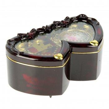 Шкатулка музыкальная два сердца с розой 6,3х14х8,5 см
