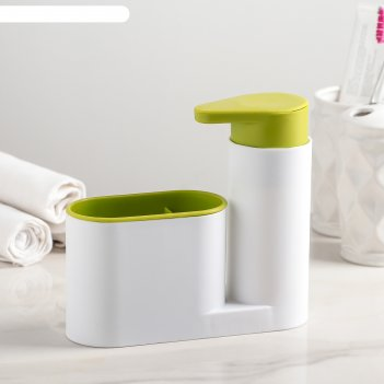 Подставка для ванных и кухонных принадлежностей с дозатором, цвет микс