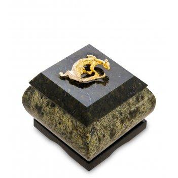 Nst-03 шкатулка золотой геккон (змеевик)