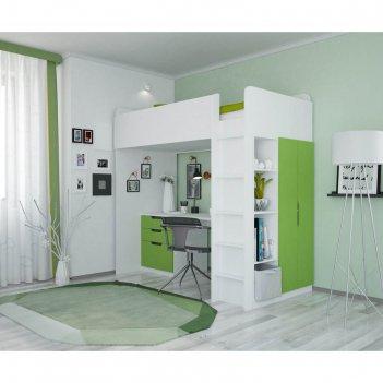 Кроватка-чердак polini kids simple с письменным столом и шкафом, цвет белы
