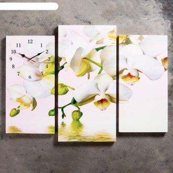 Часы настенные модульные «белые орхидеи над водой», 60 x 80 см