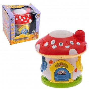 Развивающая игрушка грибочек, с проектором, сказки, песенки, звуковые эффе