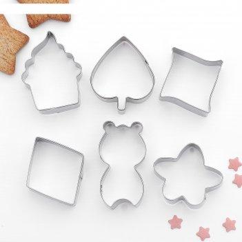 Набор форм для вырезания печенья 7x13 см цветок,капкейк,ромб, 6 шт