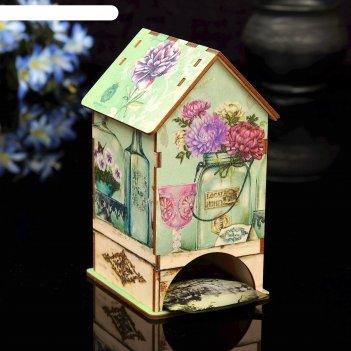 Чайный домик цветы с уф-печатью, 8,5х9,5х16см