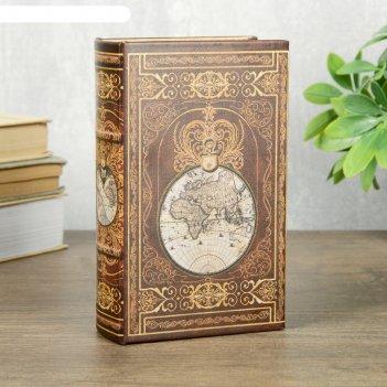 Сейф-книга дерево кожзам этот огромный мир 17х11х5 см