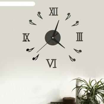 Часы-наклейка ноты, d=45 см,  сек. стрелка 12 см, чёрные