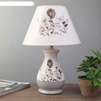 Лампа настольная цветочное ассорти 1xe14 40вт белый-серый 25х25х36 см.