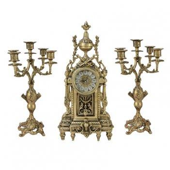 Часы антикварные каминные с канделябрами  дон луи