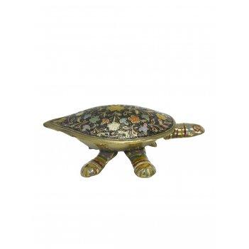 Шкатулка черепаха латунь с тёмной цветной эмалью 5,5