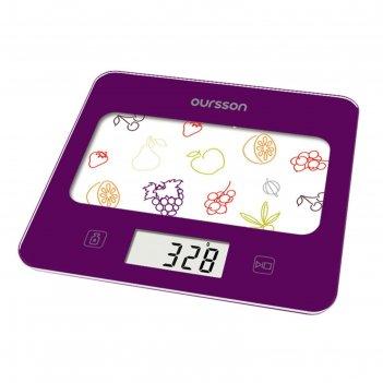 Весы кухонные oursson ks0501gd/sp, электронные, до 5 кг, сенсор, 1хcr2032,