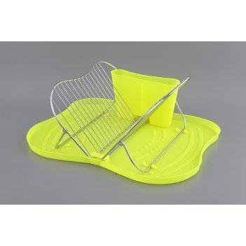 Подставка для посуды настольная+поддон пластик 44*...код