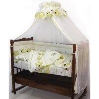 Комплект в кроватку «дружок», 7 предметов, цвет зелёный 730м/4