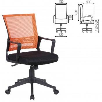 Кресло brabix  balance mg-320, с подлокотниками, комбинированное черное/ор