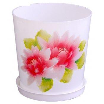 Горшок для цветов 1,8 л совершенство, поддон, белый