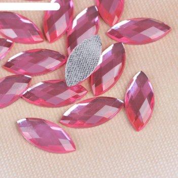 Стразы термоклеевые лепесток, 20шт, 9 х 20мм, цвет розовый