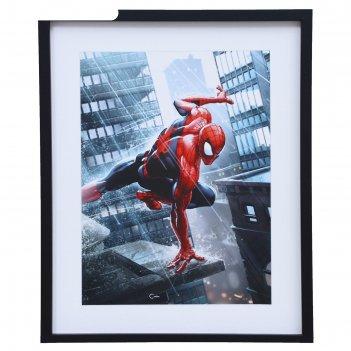 Постер человек-паук на крыше 40х49 см