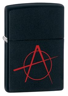 Зажигалка zippo anarchy, латунь с покрытием black matte, черный, матовая,