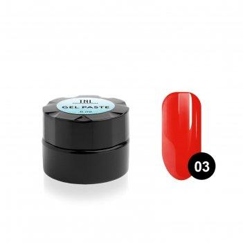 Гель-паста для дизайна ногтей tnl, №03 алая, 6 мл