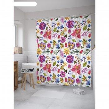 Фотоштора для ванной magic lady цветы и ягоды, 180х200 см, п/э 100%
