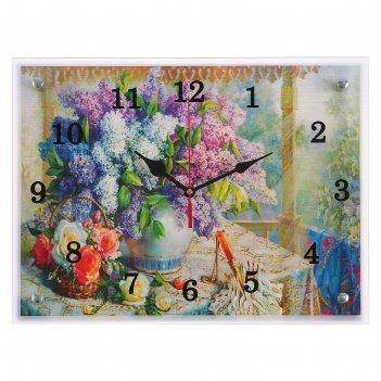 Часы настенные, серия: цветы, сирень в вазе, 30х40  см, микс