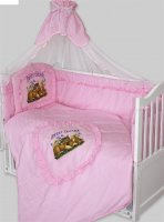 Комплект в кроватку аленка 7 пр едметов (120х60): бампер, балдахин, одеяло