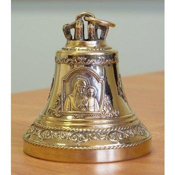 Колокольчик из бронзы с иконой божией матери