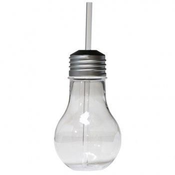 Бокал-лампочка с соломинкой 420мл diligence4us с крышкой (серебро)