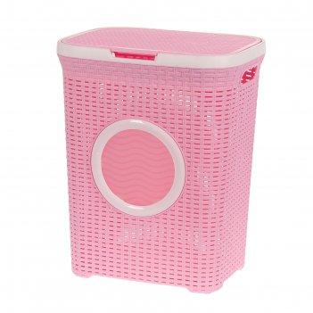 Корзина для белья 60л с крышкой с иллюминатором розовый