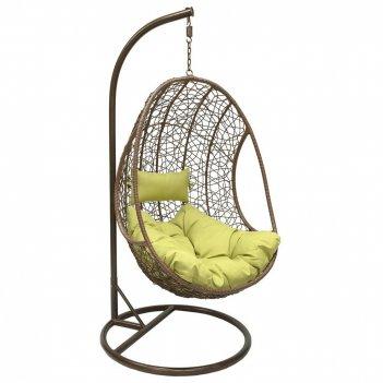 Подвесное кресло leset leo brown ми, каркас коричневый, подушка зелёная