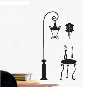 Наклейка пластик интерьерная чёрная фонарь, столик и часы 50х70 см