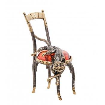 Am- 365 фигурка кот на стуле (латунь, янтарь)