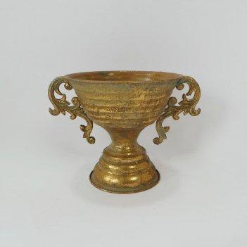 Кашпо напольное для цветов  декоративное,  золотая патина