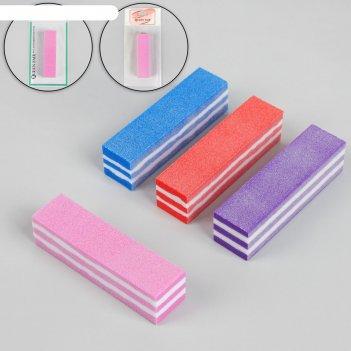 Баф наждачный для ногтей «мармелад», четырёхсторонний, 9,5 см, цвет микс