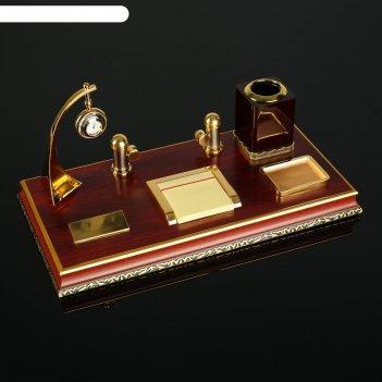 Набор настольный 5в1 (блок д/бумаг, подаст. д/печати, карандашница, часы,