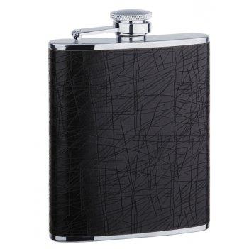 Фляга s.quire 0,18 л, сталь+искусственная кожа, черная