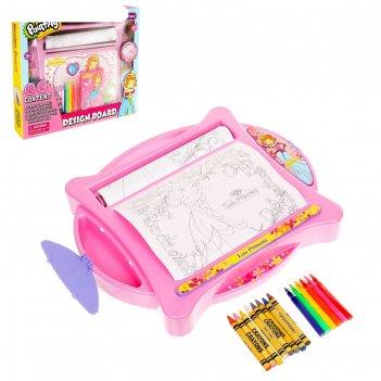 Доска для рисования «учимся рисовать» с фломастерами и карандашами