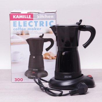 Кофеварка гейзерная электрическая kamille 300мл (6 порций) из алюминия (чё