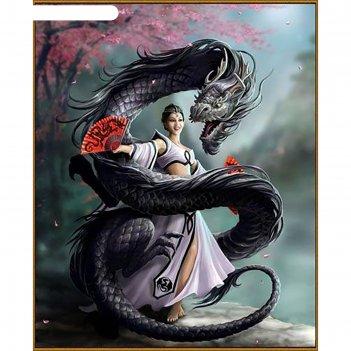 Алмазная мозаика девушка с драконом, 51 цвет