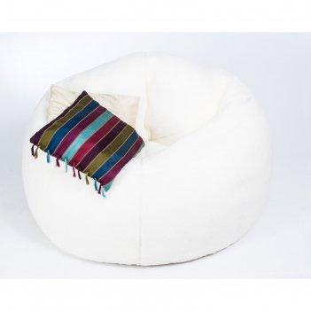 Кресло бескаркасное «софт», большое, молочный, мех