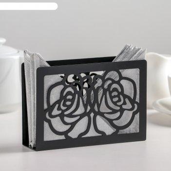 Салфетница цветы, цвет чёрный